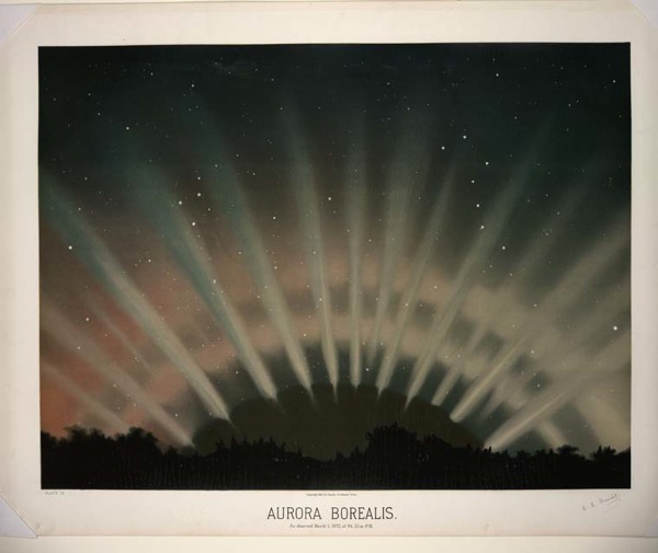 Aurora Borealis As observed March 1 1872 at 9h 25m P M